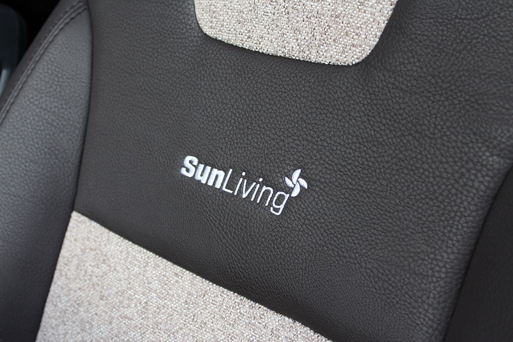 "Image of Motorhome seat with ""SunLiving"" logo"